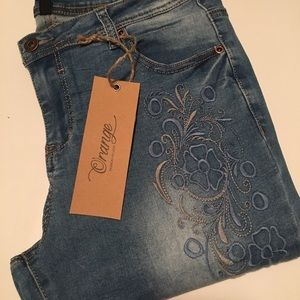Orange Fashion Village Jeans - Embroidered Distressed Jeans